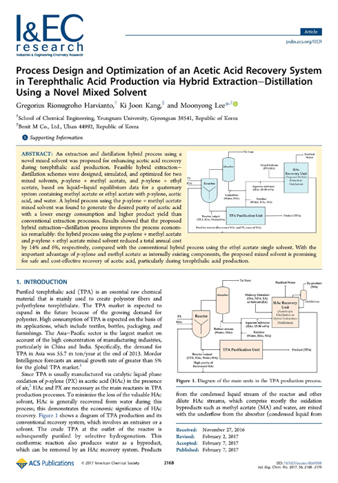 Process Design and Optimization of an Acetic Acid Recovery System in Terephthalic Acid Production via Hybrid Extraction-Distillation Using a Novel Mixed Solvent