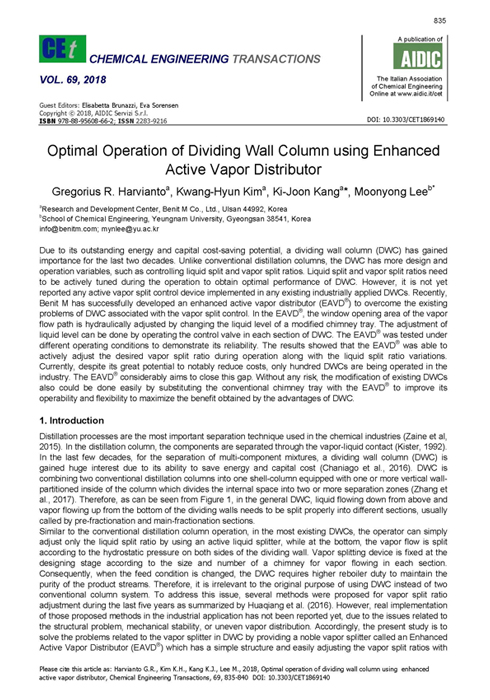 Optimal Operation of Dividing Wall Column using Enhanced Active Vapor Distributor